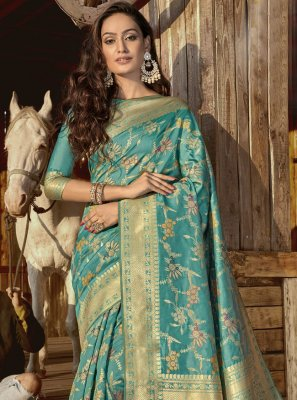 Aqua Blue Weaving Designer Traditional Saree