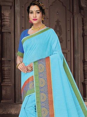 Aqua Blue Woven Handloom Cotton Traditional Saree