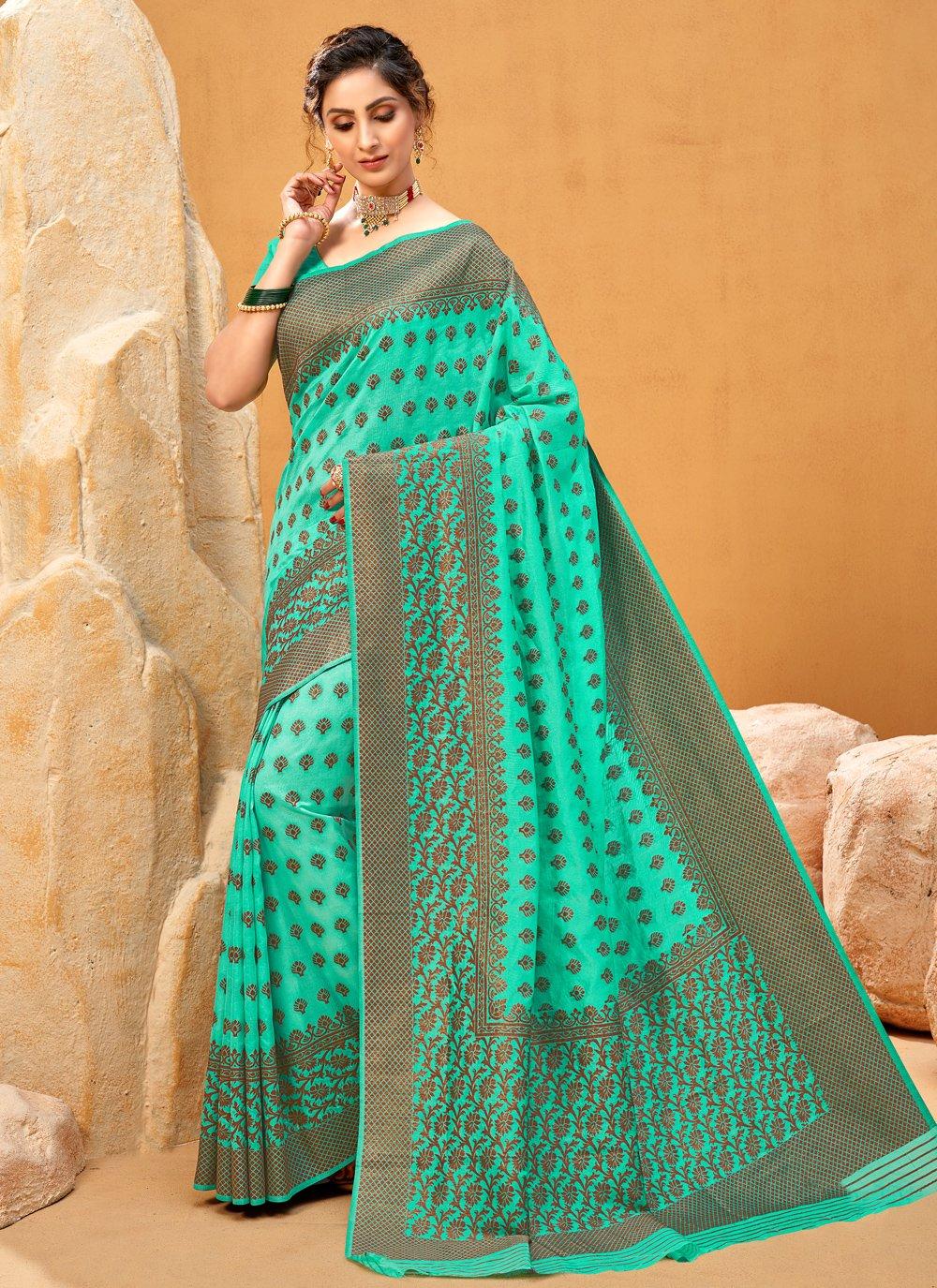 Aqua Blue Zari Designer Traditional Saree