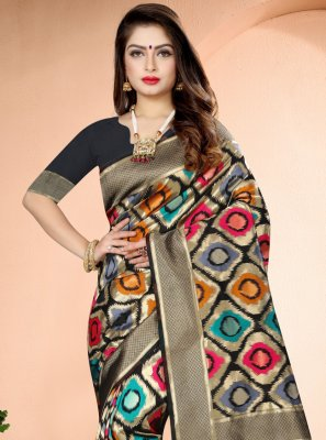 Art Banarasi Silk Black Traditional Saree