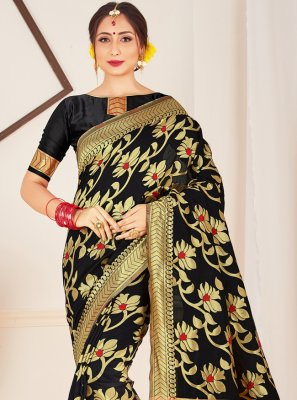 Art Banarasi Silk Black Woven Traditional Saree