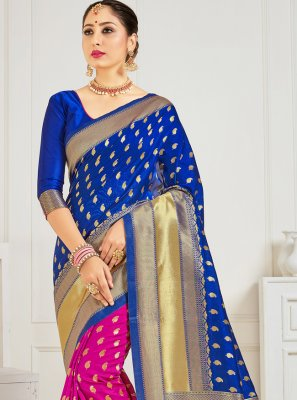 Art Banarasi Silk Blue and Hot Pink Woven Half N Half Trendy Saree