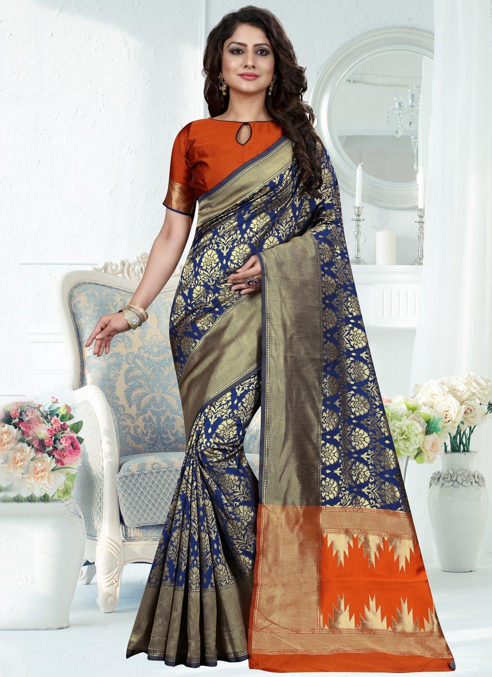 Art Banarasi Silk Blue Weaving Traditional Designer Saree