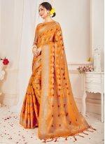 Art Banarasi Silk Designer Traditional Saree in Mustard