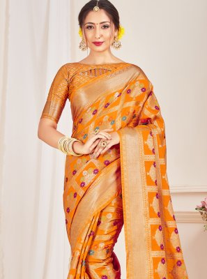 Art Banarasi Silk Designer Traditional Saree in Mustard