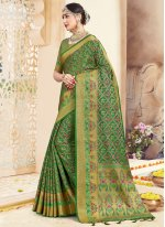 Art Banarasi Silk Green Traditional Saree