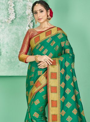 Art Banarasi Silk Green Woven Designer Traditional Saree