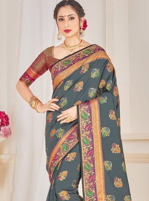 Art Banarasi Silk Grey Traditional Designer Saree