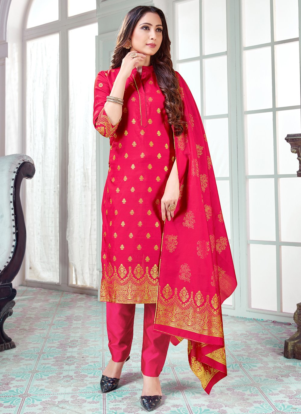 Art Banarasi Silk Hot Pink Pant Style Suit