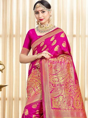 Art Banarasi Silk Hot Pink Woven Designer Traditional Saree