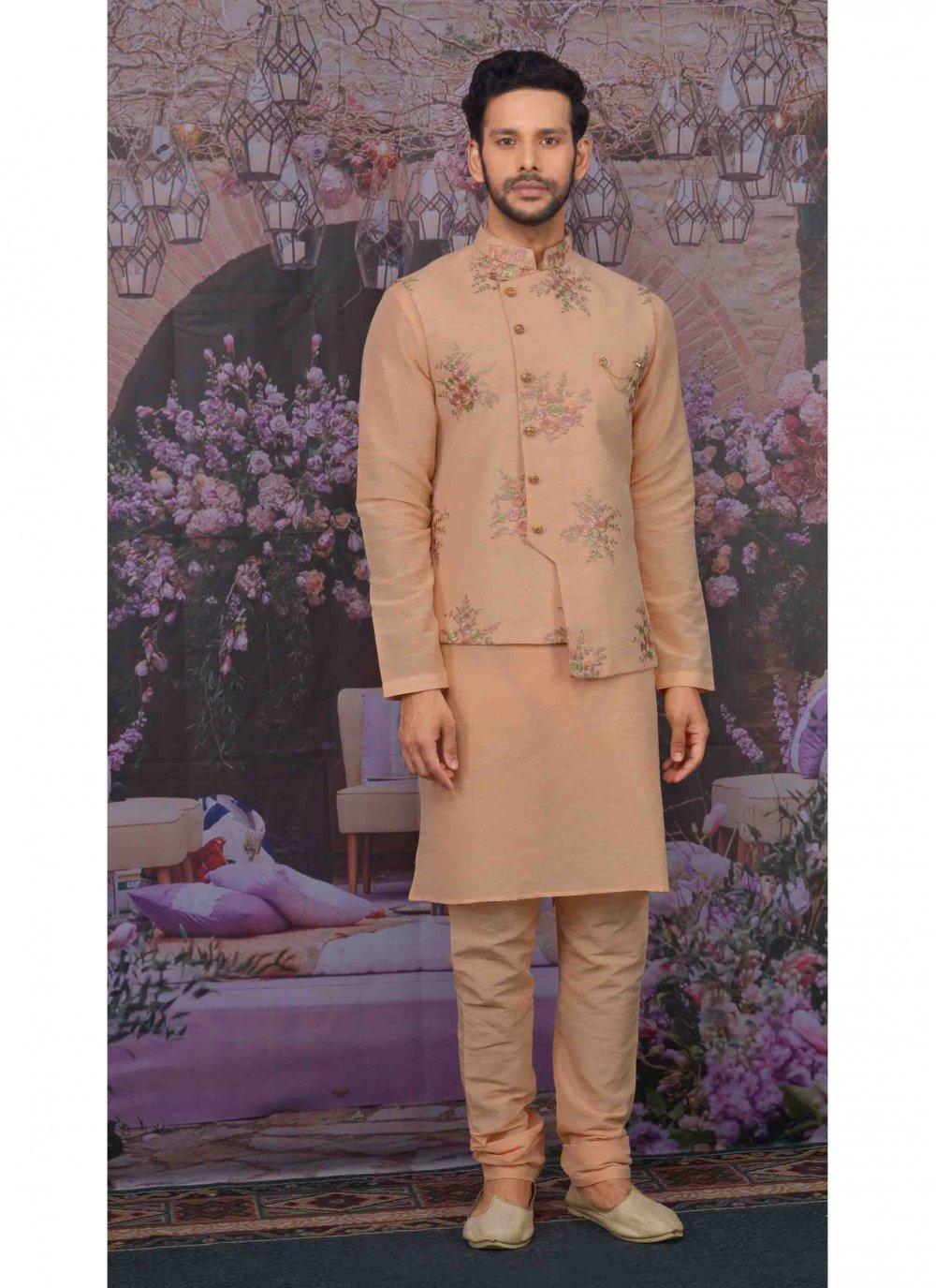 Art Banarasi Silk Kurta Payjama With Jacket in Peach
