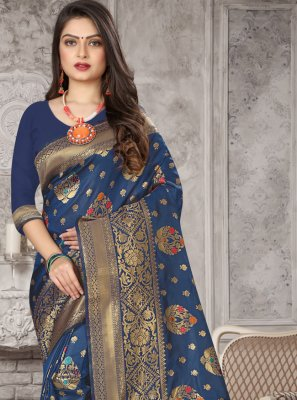 Art Banarasi Silk Navy Blue Weaving Traditional Designer Saree