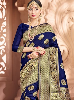 Art Banarasi Silk Navy Blue Woven Traditional Saree