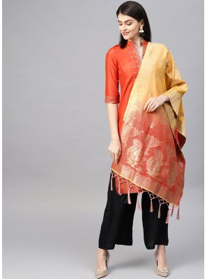 Art Banarasi Silk Orange and Yellow Designer Traditional Saree