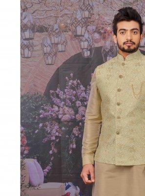 Art Banarasi Silk Peach Kurta Payjama With Jacket