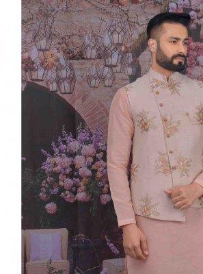 Art Banarasi Silk Pink Kurta Payjama With Jacket
