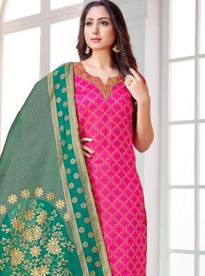 Art Banarasi Silk Pink Pant Style Suit