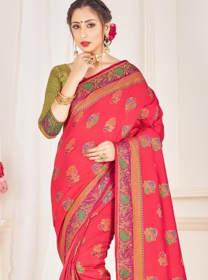 Art Banarasi Silk Pink Woven Traditional Saree