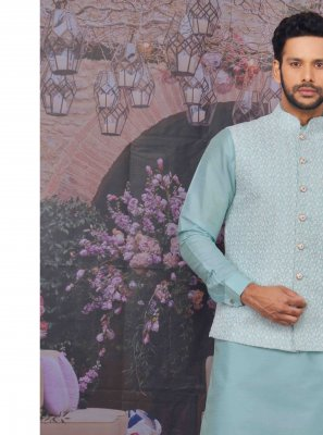 Art Banarasi Silk Plain Kurta Payjama With Jacket in Blue