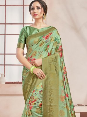 Art Banarasi Silk Print Green Printed Saree