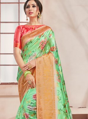 Art Banarasi Silk Print Printed Saree in Green