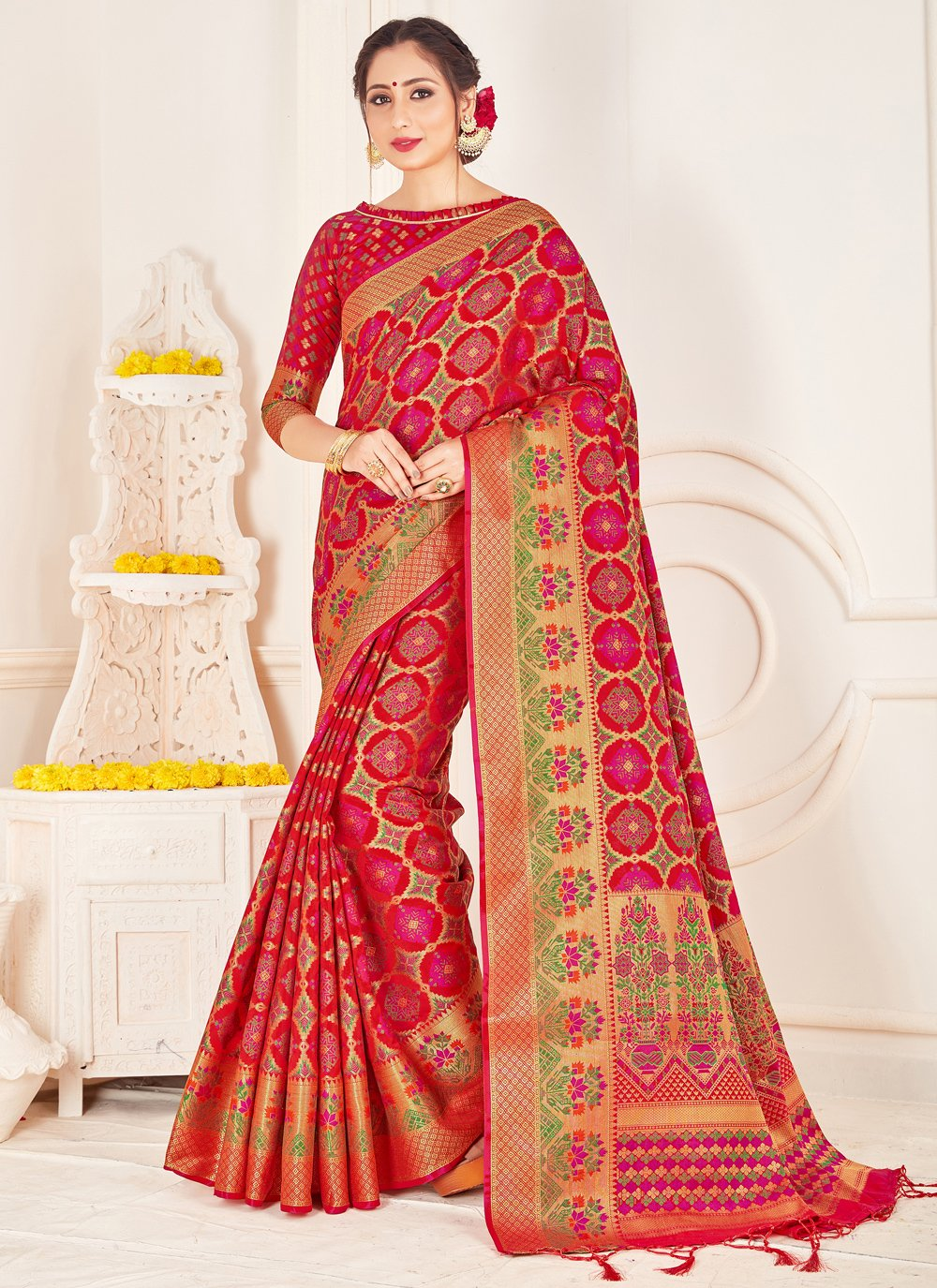 Art Banarasi Silk Red Designer Traditional Saree