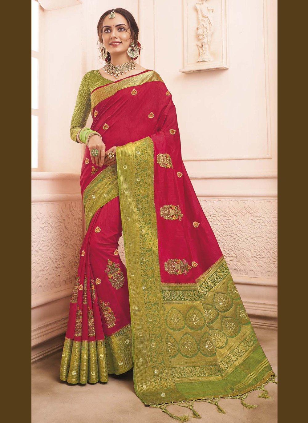 Art Banarasi Silk Red Traditional Designer Saree