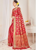 Art Banarasi Silk Red Traditional Designer Saree