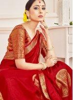 Art Banarasi Silk Red Woven Traditional Designer Saree