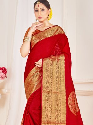 Art Banarasi Silk Red Woven Traditional Designer Saree