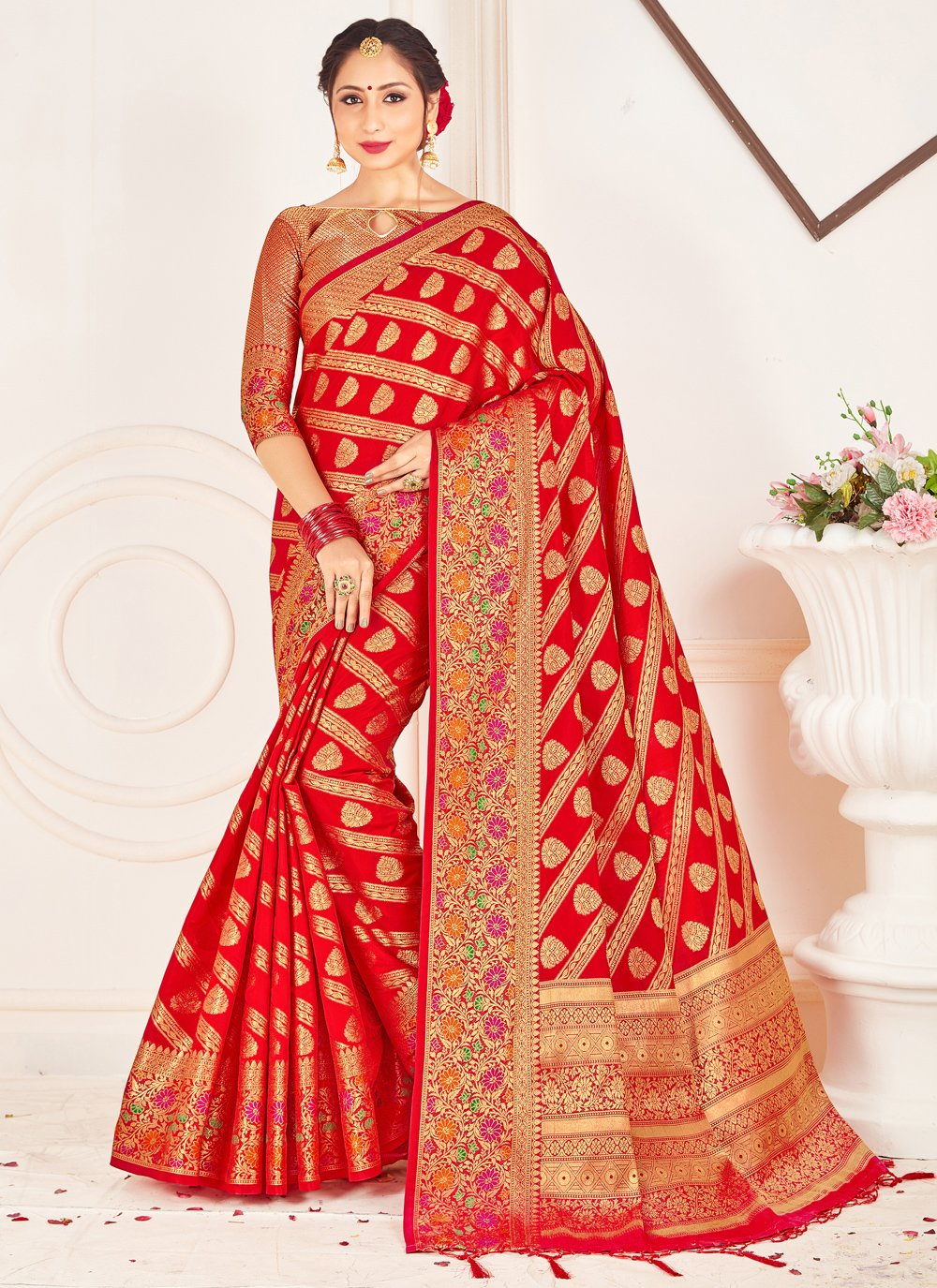 Art Banarasi Silk Red Woven Traditional Saree