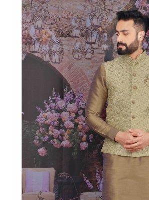 Art Banarasi Silk Rust Plain Kurta Payjama With Jacket
