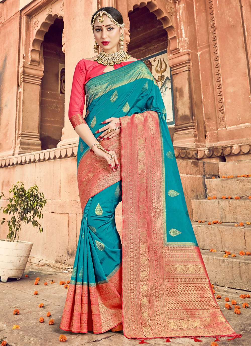 Art Banarasi Silk Turquoise Woven Traditional Designer Saree