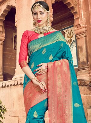 Art Banarasi Silk Turquoise Woven Traditional Designer Saree