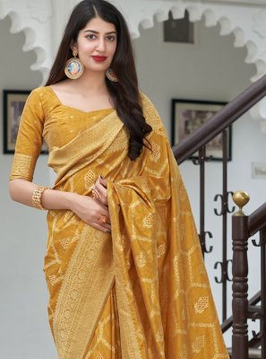 Art Banarasi Silk Weaving Designer Traditional Saree in Mustard