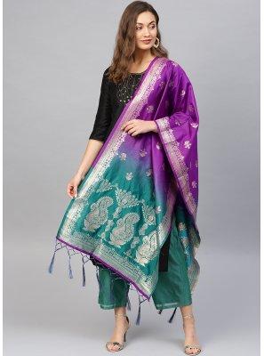 Art Banarasi Silk Weaving Purple and Teal Designer Traditional Saree