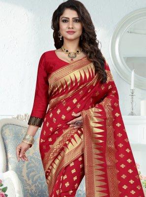 Art Banarasi Silk Weaving Red Designer Traditional Saree