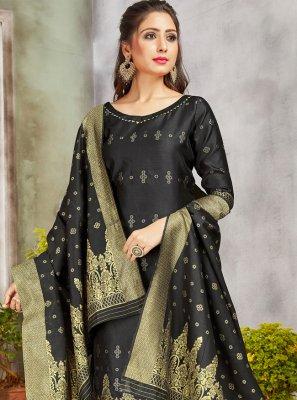 Art Banarasi Silk Woven Black Pant Style Suit