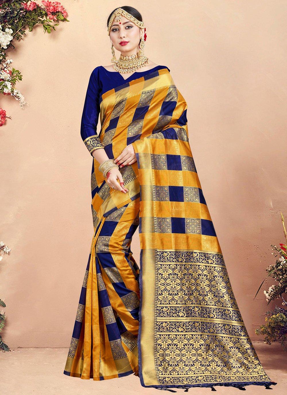 Art Banarasi Silk Woven Designer Traditional Saree in Multi Colour