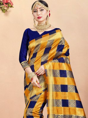 Art Banarasi Silk Woven Designer Traditional Saree in Multi Colour