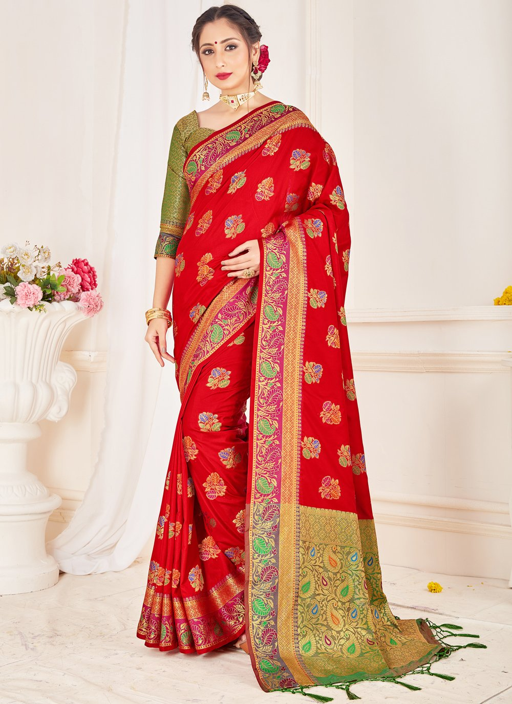 Art Banarasi Silk Woven Designer Traditional Saree in Red