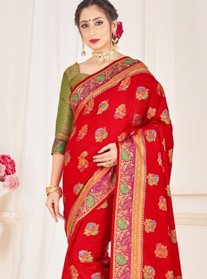 Art Banarasi Silk Woven Designer Traditional Saree in Red