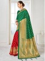 Art Banarasi Silk Woven Green and Red Half N Half Designer Saree