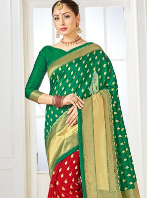 Art Banarasi Silk Woven Green and Red Half N Half Designer Saree