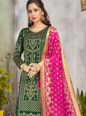 Art Banarasi Silk Woven Green Pant Style Suit