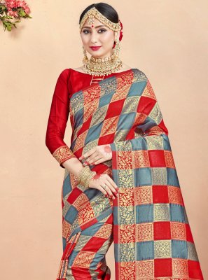 Art Banarasi Silk Woven Multi Colour Traditional Saree