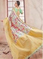 Art Banarasi Silk Woven Printed Saree in Multi Colour