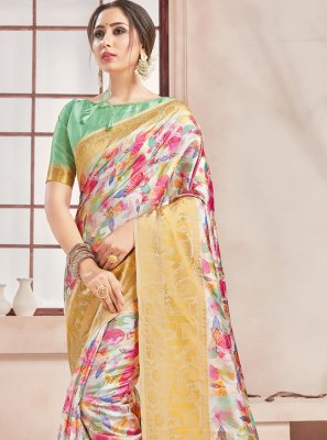 Art Banarasi Silk Woven Printed Saree in Multi Colour