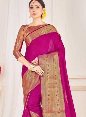 Art Banarasi Silk Woven Rani Designer Traditional Saree