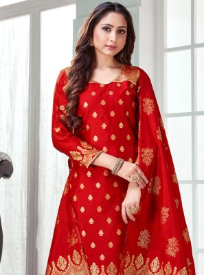 Art Banarasi Silk Woven Red Pant Style Suit